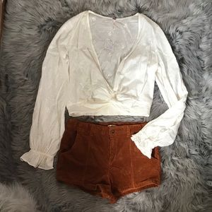 Free People Tops - Free People Embroidered Twisted Crop Top